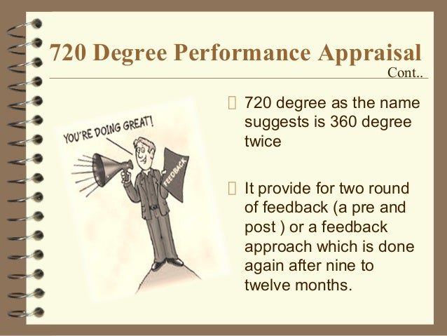 720 degree performance appraisal Performance appraisal or performance evaluation appraising the employees on how well they did in the past period,  720 degrees performance appraisal:.