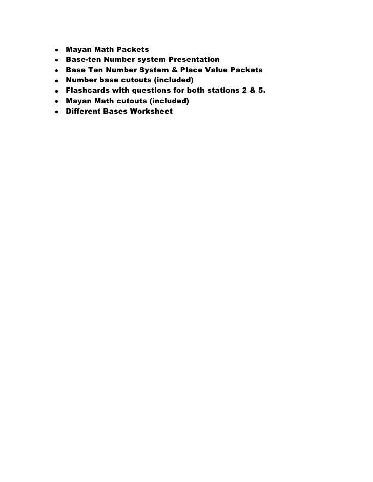 Mayan unit plan 1 – Mayan Math Worksheet