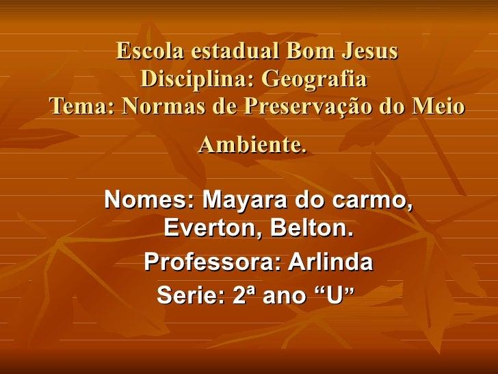 Escola estadual Bom Jesus Disciplina: Geografia  Tema: Normas de Preservação do Meio Ambiente .   Nomes: Mayara do carmo, ...