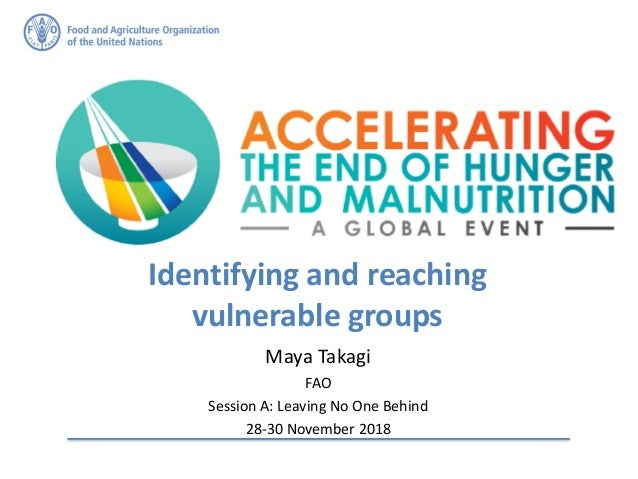 Identifying and reaching vulnerable groups Maya Takagi FAO Session A: Leaving No One Behind 28-30 November 2018