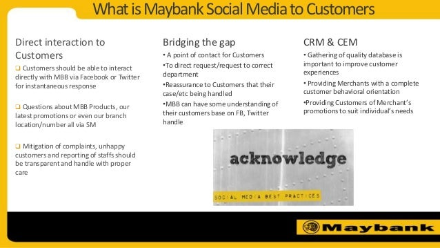 WhatisMaybankSocialMediatoCustomersDirect interaction toCustomers Customers should be able to interactdirectly with MBB v...