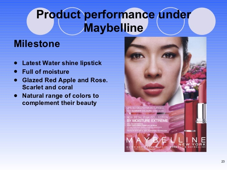 Product performance under Maybelline <ul><li>Milestone </li></ul><ul><li>Latest Water shine lipstick  </li></ul><ul><li>Fu...