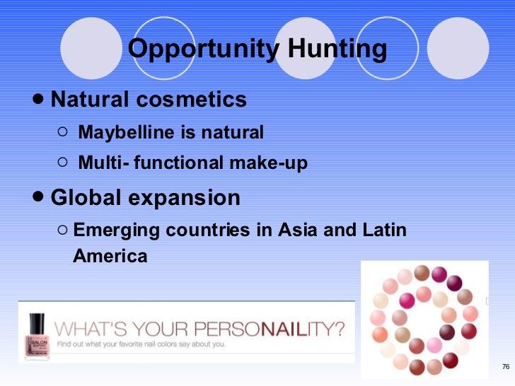 Opportunity Hunting <ul><li>Natural cosmetics </li></ul><ul><ul><li>Maybelline is natural </li></ul></ul><ul><ul><li>Multi...