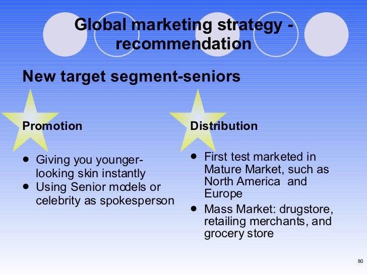 Global marketing strategy - recommendation <ul><li>Promotion </li></ul><ul><li>Giving you younger-looking skin instantly <...