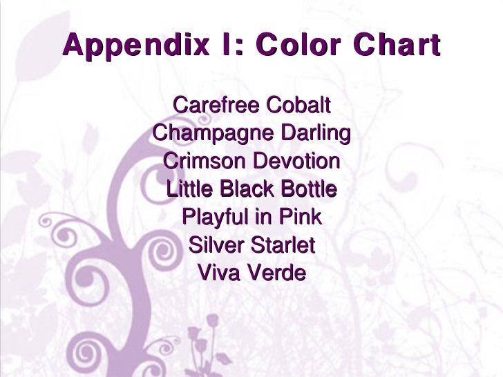 Appendix I: Color Chart <ul><li>Carefree Cobalt </li></ul><ul><li>Champagne Darling </li></ul><ul><li>Crimson Devotion </l...