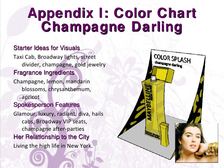 Appendix I: Color Chart Champagne Darling <ul><li>Starter Ideas for Visuals </li></ul><ul><li>Taxi Cab, Broadway lights, s...