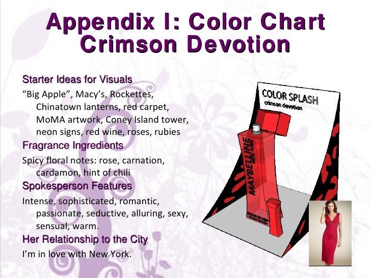 "Appendix I: Color Chart Crimson Devotion <ul><li>Starter Ideas for Visuals </li></ul><ul><li>"" Big Apple"", Macy's, Rockett..."