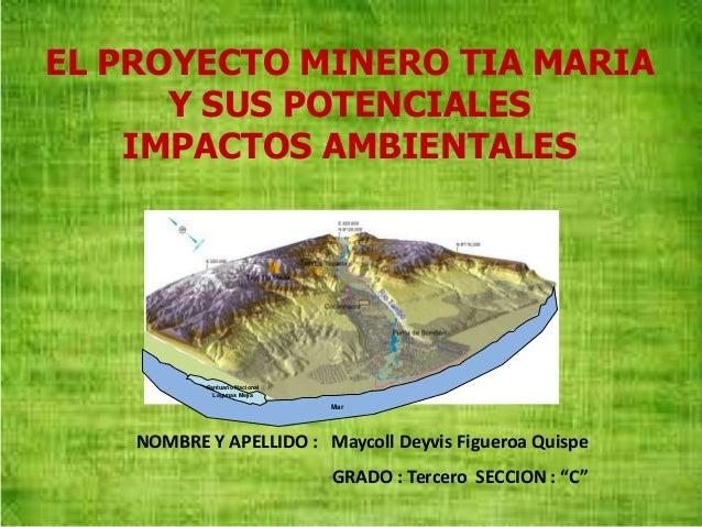 Santuario Nacional Lagunas Mejía Mar EL PROYECTO MINERO TIA MARIA Y SUS POTENCIALES IMPACTOS AMBIENTALES NOMBRE Y APELLIDO...