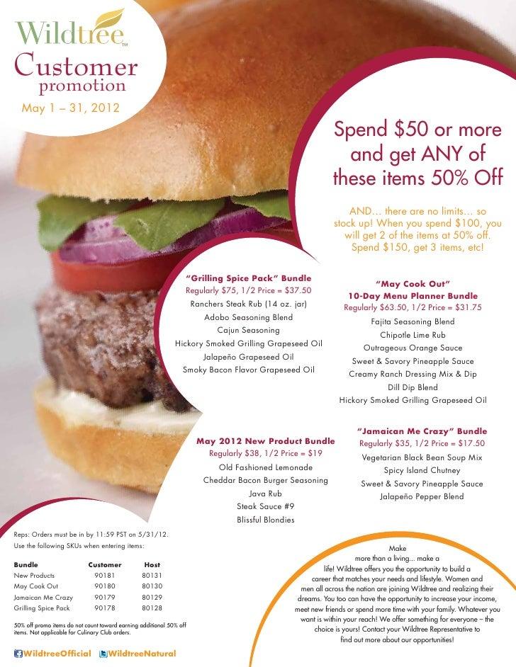 Customer         promotion   May 1 – 31, 2012                                                                             ...