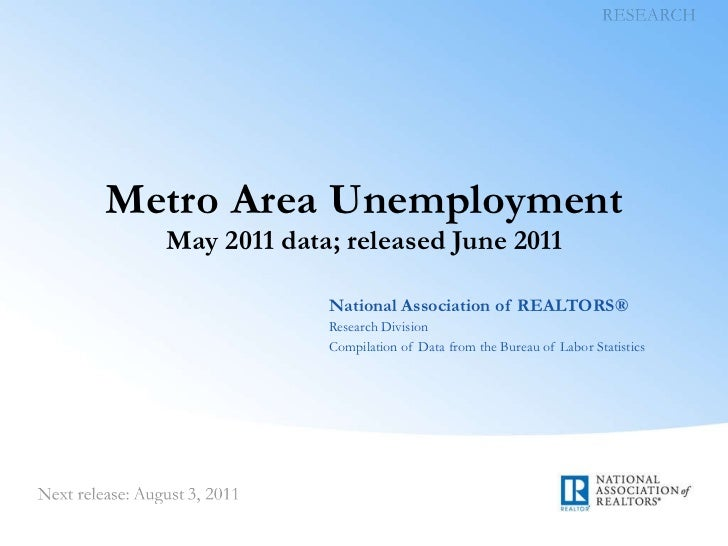 Metro Area Unemployment May 2011 data; released June 2011 National Association of REALTORS® Research Division Compilation ...