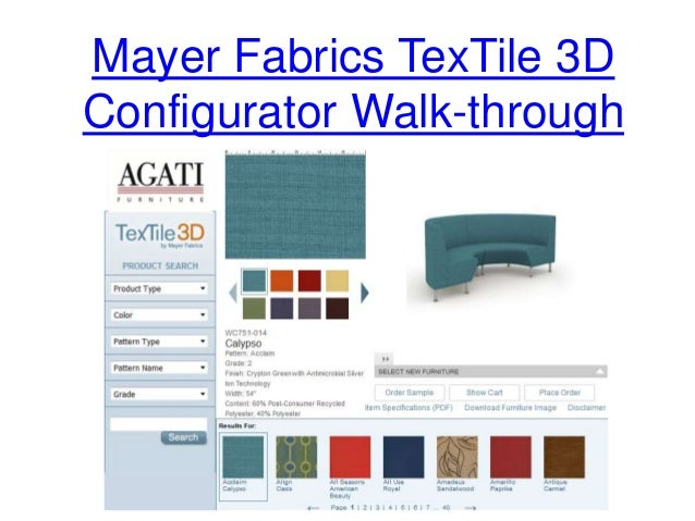 Mayer Fabrics TexTile 3D Configurator Walk Through; 3.