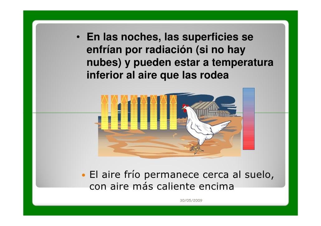 • En las noches, las superficies se  enfrían por radiación (si no hay  nubes) y pueden estar a temperatura  inferior al ai...