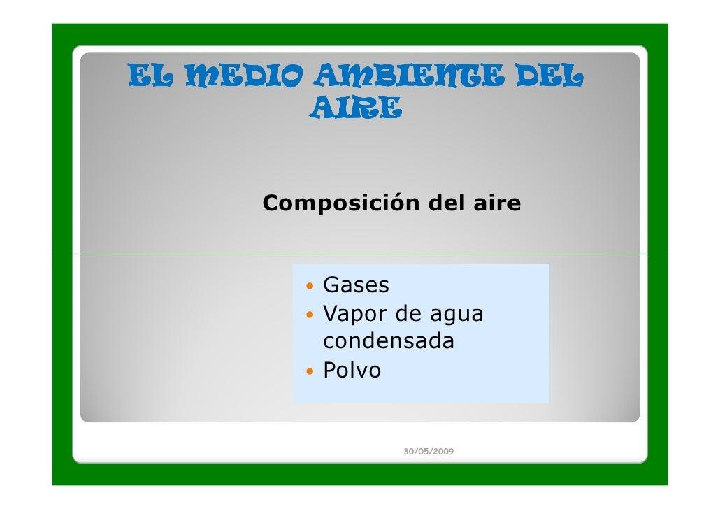 EL MEDIO AMBIENTE DEL         AIRE      Composición del aire          Gases          Vapor de agua          condensada    ...