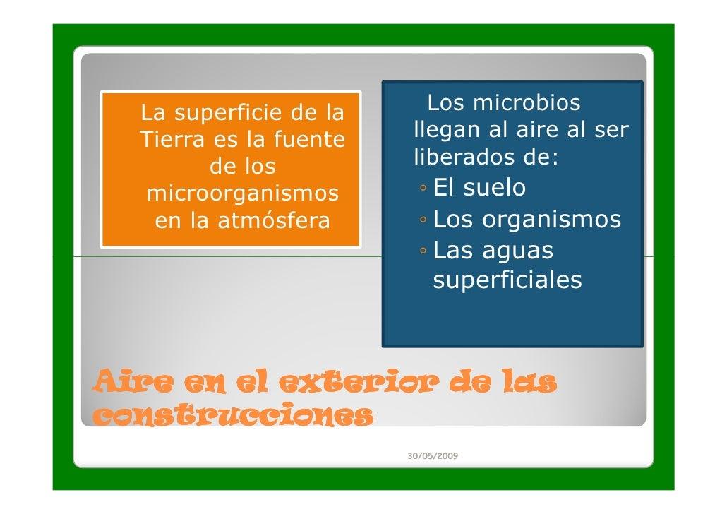 La superficie de la      Los microbios  Tierra es la fuente    llegan al aire al ser        de los           liberados de:...