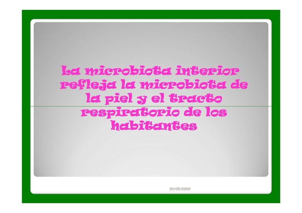 La microbiota interiorrefleja la microbiota de   la piel y el tracto  respiratorio de los       habitantes             30/...