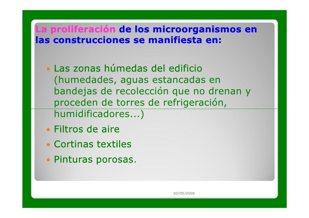 La proliferación de los microorganismos enlas construcciones se manifiesta en:   Las zonas húmedas del edificio   (humedad...