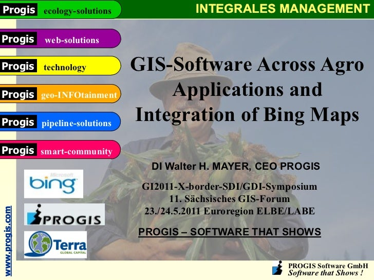 Progis ecology-solutions               INTEGRALES MANAGEMENTProgis web-solutionsProgis technology           GIS-Software A...