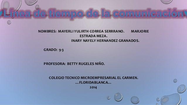 NOMBRES: MAYERLI YULIRTH CORREA SERRRANO. MARJORIE ESTRADA MEZA. INARY NAYELY HERNANDEZ GRANADOS. GRADO: 9-3 PROFESORA: BE...