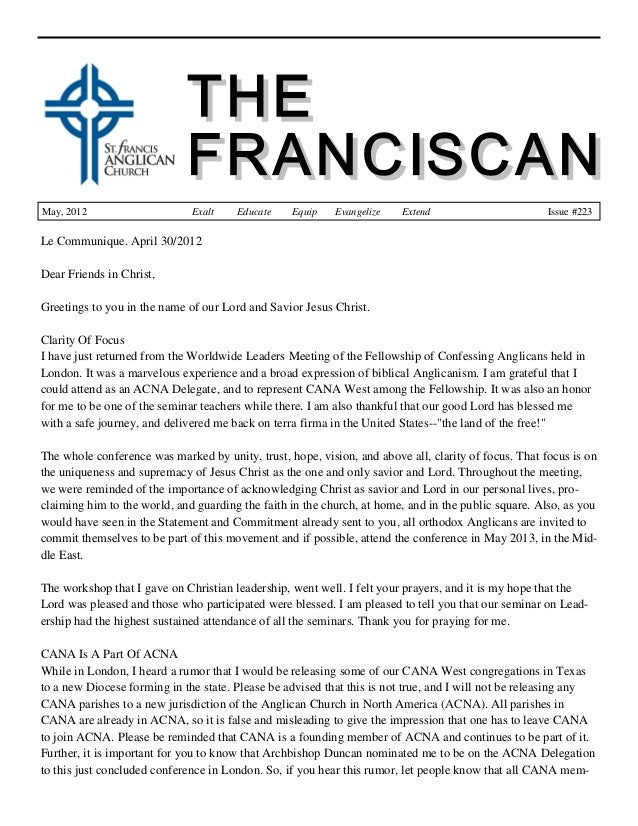 May, 2012 Exalt Educate Equip Evangelize Extend Issue #223 Le Communique. April 30/2012 Dear Friends in Christ, Greetings ...