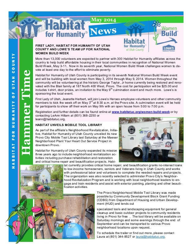HammerTime HABBITATFORHUMANITYOFUTAHCOUNTY News May 2014 FIRST LADY, HABITAT FOR HUMANITY OF UTAH COUNTY AND LOWE'S TEAM U...