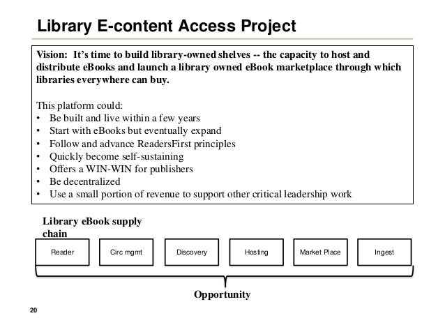 20 Library E-content Access Project Vision: It's time to build library-owned shelves -- the capacity to host and distribut...
