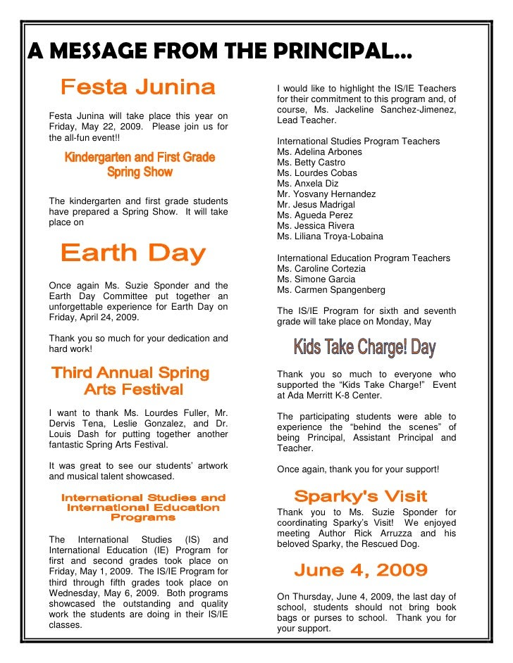 A MESSAGE FROM THE PRINCIPAL…<br /> <br />Festa Junina will take place this year on Friday, May 22, 2009.  Please join us ...