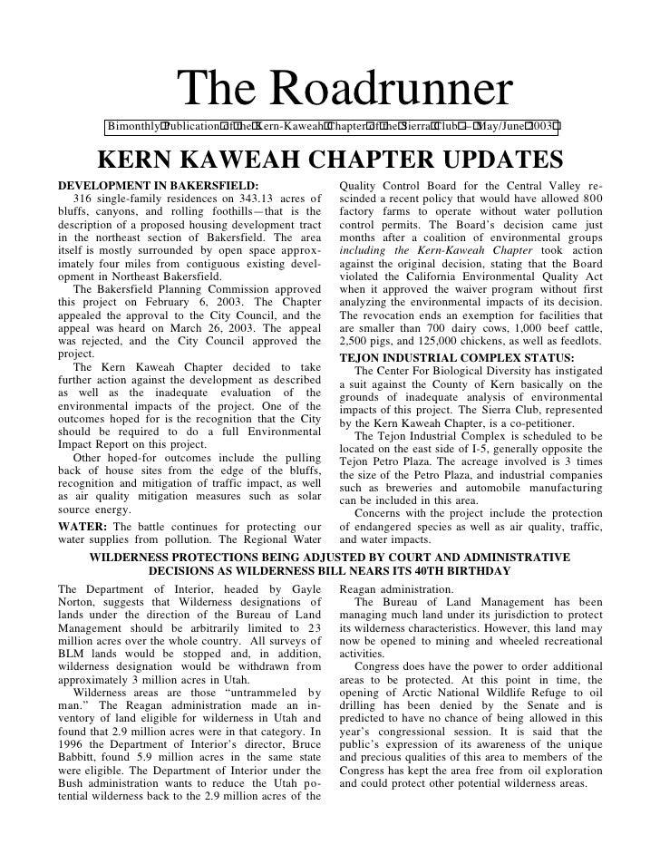 The Roadrunner          Bimonthly Publication of the Kern-Kaweah Chapter of the Sierra Club — May/June 2003        KERN KA...
