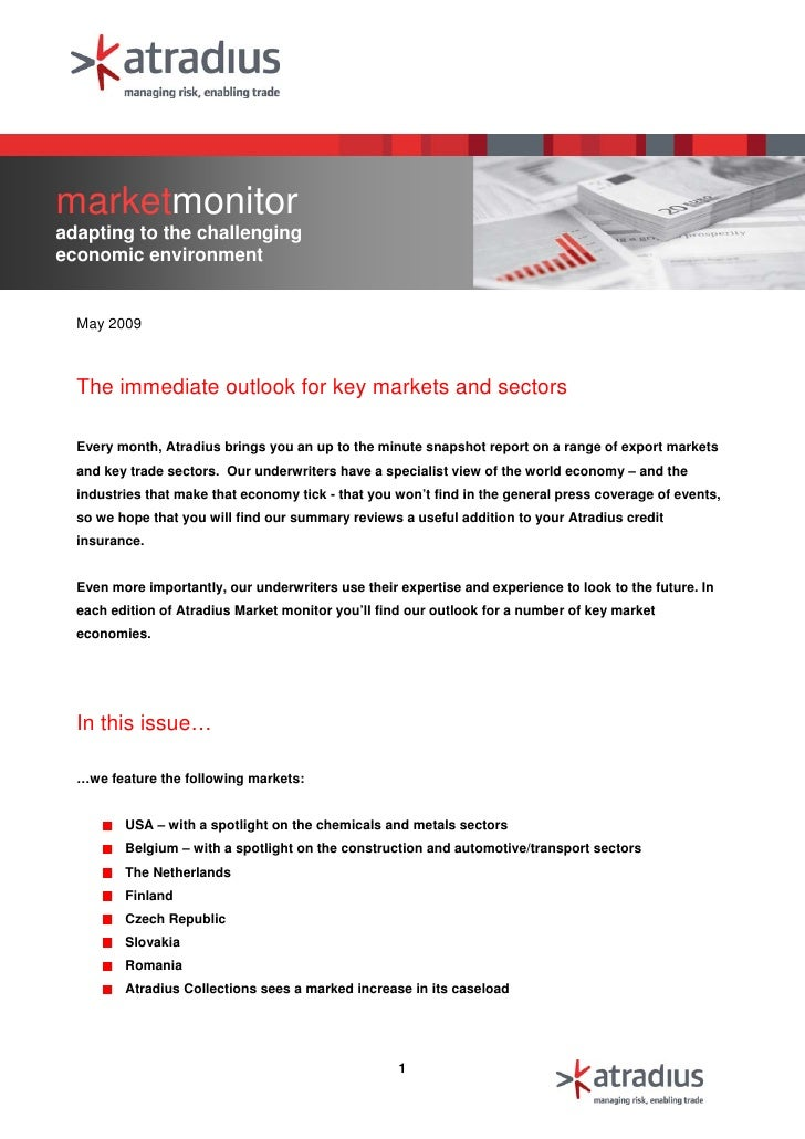 marketmonitor adapting to the challenging economic environment     May 2009      The immediate outlook for key markets and...