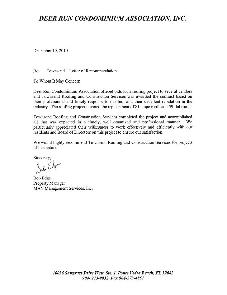 May mgmt letter of rec