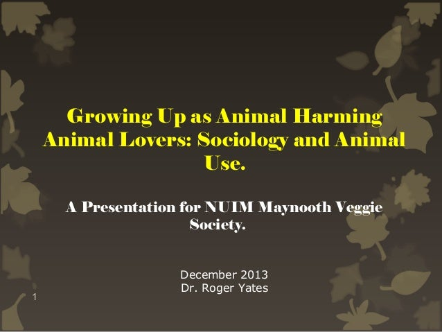 Growing Up as Animal Harming Animal Lovers: Sociology and Animal Use. A Presentation for NUIM Maynooth Veggie Society.  1 ...
