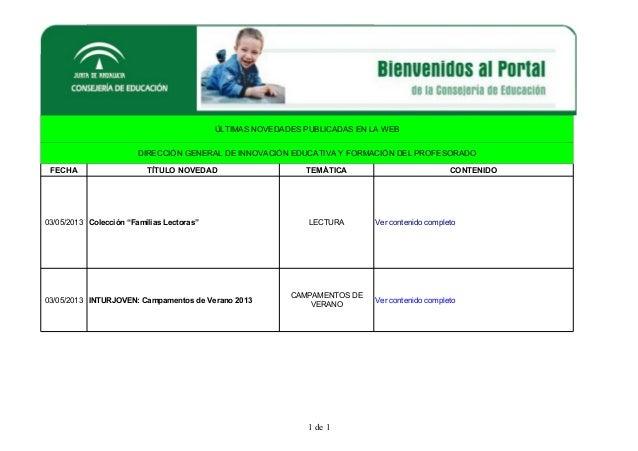 1 de 1ÚLTIMAS NOVEDADES PUBLICADAS EN LA WEBDIRECCIÓN GENERAL DE INNOVACIÓN EDUCATIVA Y FORMACIÓN DEL PROFESORADOFECHA TÍT...