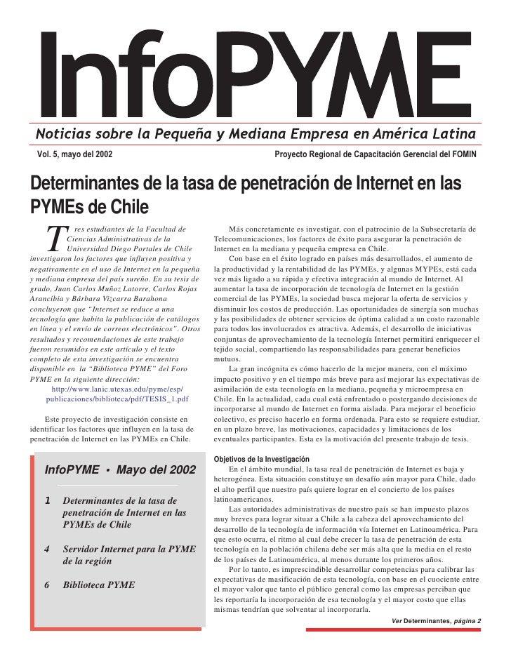 Proyecto Regional de Capacitación Gerencial del FOMIN   Vol. 5, mayo del 2002   Determinantes de la tasa de penetración de...