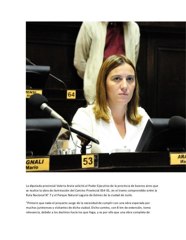 La diputada provincial Valeria Arata solicitó al Poder Ejecutivo de la provincia de buenos aires quese realice la obra de ...