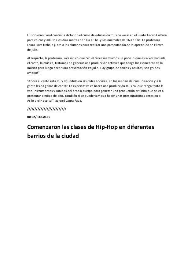 El Gobierno Local comenzó a dictar clases de Hip-Hop en diferentes barrios de la ciudad. Las clasesestán a cargo de la pro...