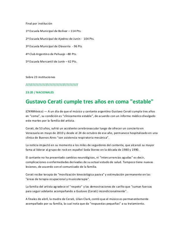 Final por institución1º Escuela Municipal de Bolívar – 114 Pts.2º Escuela Municipal de Ajedrez de Junín - 104 Pts.3º Escue...