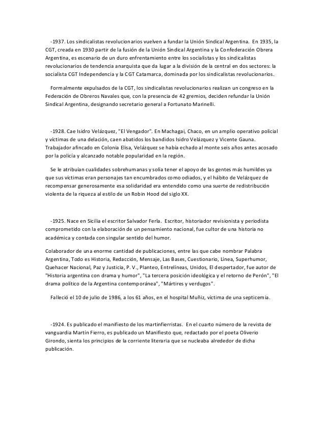 -1937. Los sindicalistas revolucionarios vuelven a fundar la Unión Sindical Argentina. En 1935, laCGT, creada en 1930 part...