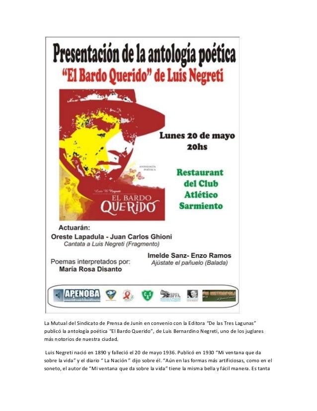 """La Mutual del Sindicato de Prensa de Junín en convenio con la Editora """"De las Tres Lagunas""""publicó la antología poética """"E..."""