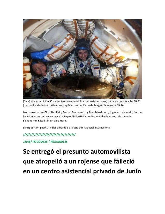 (CNN) - La expedición 35 de la cápsula espacial Soyuz aterrizó en Kazajstán este martes a las 08:31(tiempo local) sin cont...