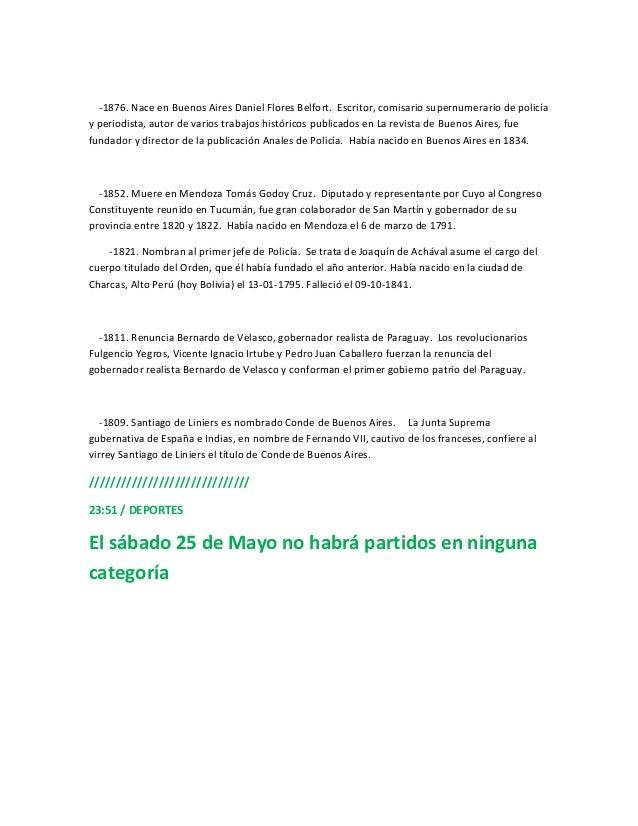 -1876. Nace en Buenos Aires Daniel Flores Belfort. Escritor, comisario supernumerario de policíay periodista, autor de var...