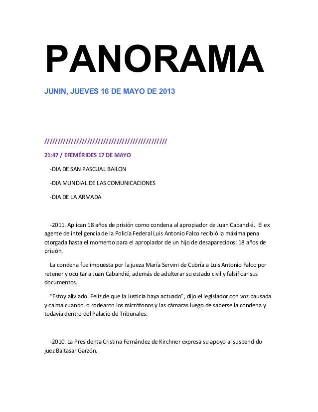 PANORAMAJUNIN, JUEVES 16 DE MAYO DE 2013//////////////////////////////////////////////21:47 / EFEMÉRIDES 17 DE MAYO-DIA DE...