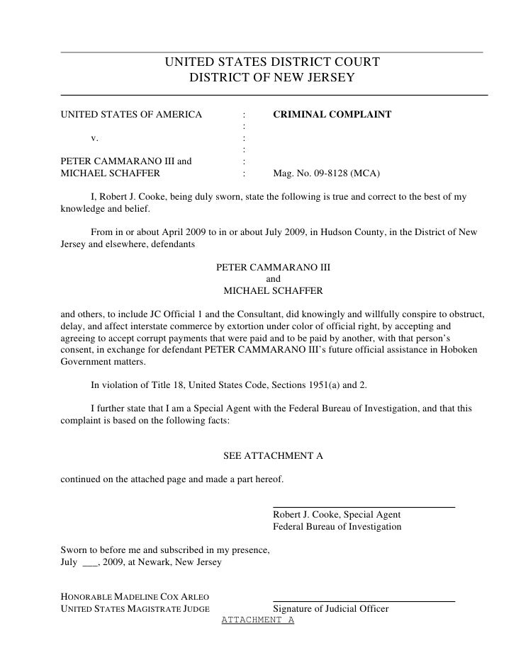 UNITED STATES DISTRICT COURT                              DISTRICT OF NEW JERSEY  UNITED STATES OF AMERICA                ...