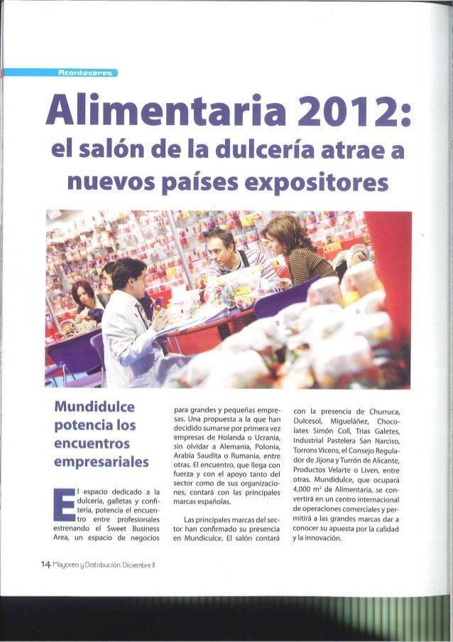 Alimentaria 2012: el salón de la dulcería atrae a nuevos países expositores. Mayoreo y distribución (México), diciembre 2011