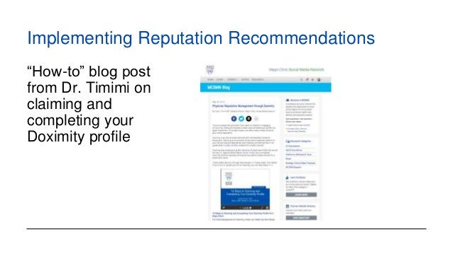 """Implementing Reputation Recommendations """"How-to"""" blog post from Dr. Timimi on claiming and completing your Doximity profile"""