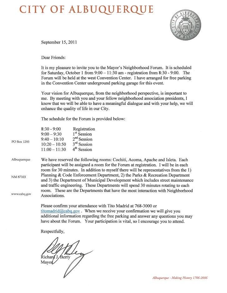 Mayor's neighborhood forum letter 2011-10-01