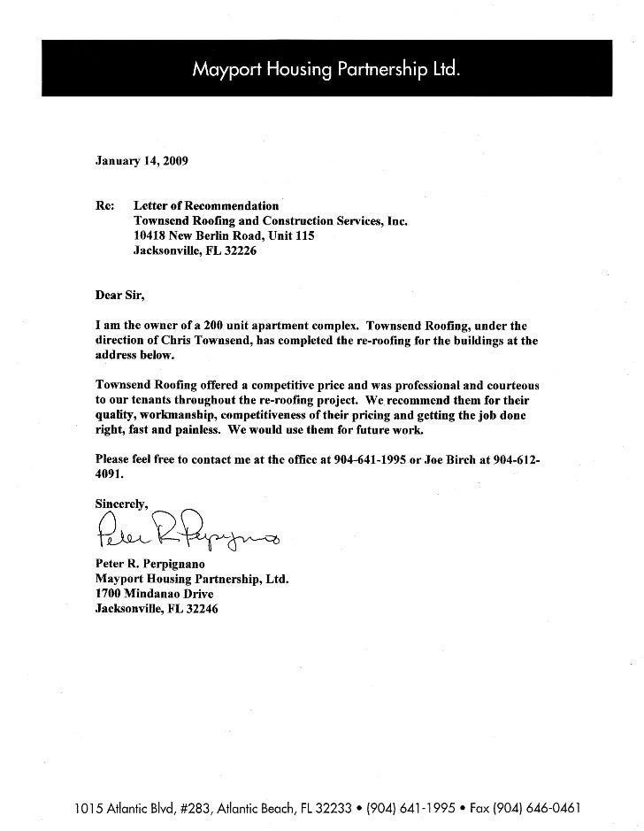 Mayport letter of rec