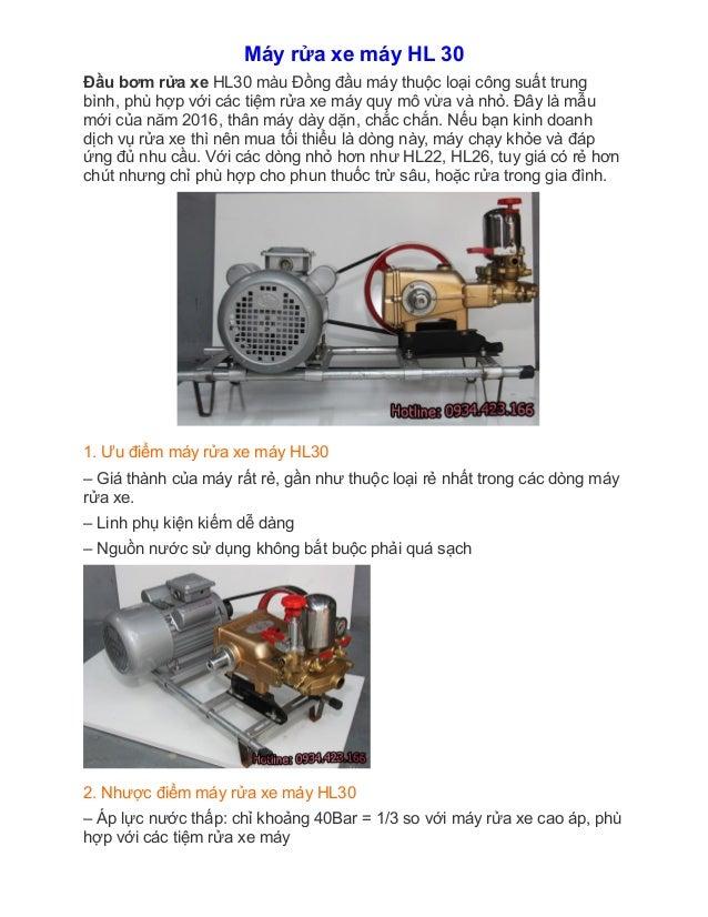 Máy rửa xe máy HL 30 Đầu bơm rửa xe HL30 màu Đồng đầu máy thuộc loại công suất trung bình, phù hợp với các tiệm rửa xe...