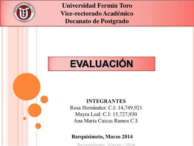 Universidad Fermín Toro Vice-rectorado Académico Decanato de Postgrado