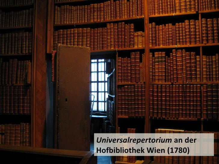 Universalrepertorium  an der Hofbibliothek Wien (1780)
