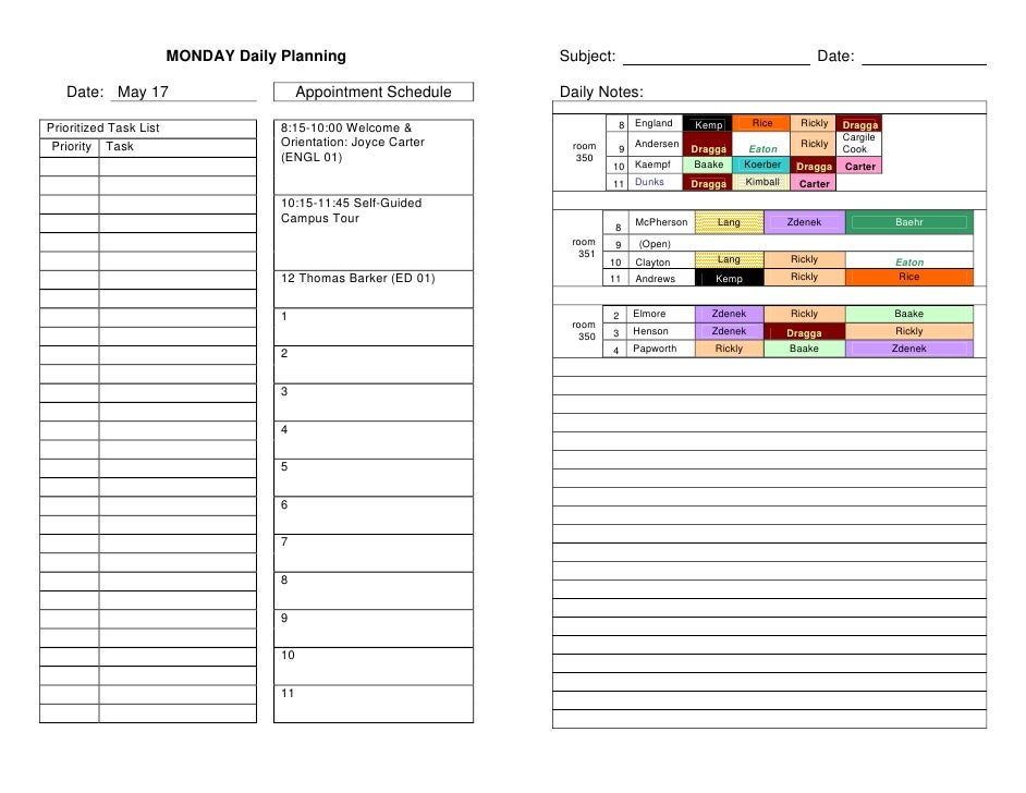 MONDAY Daily Planning                    Subject:                                               Date:     Date: May 17    ...