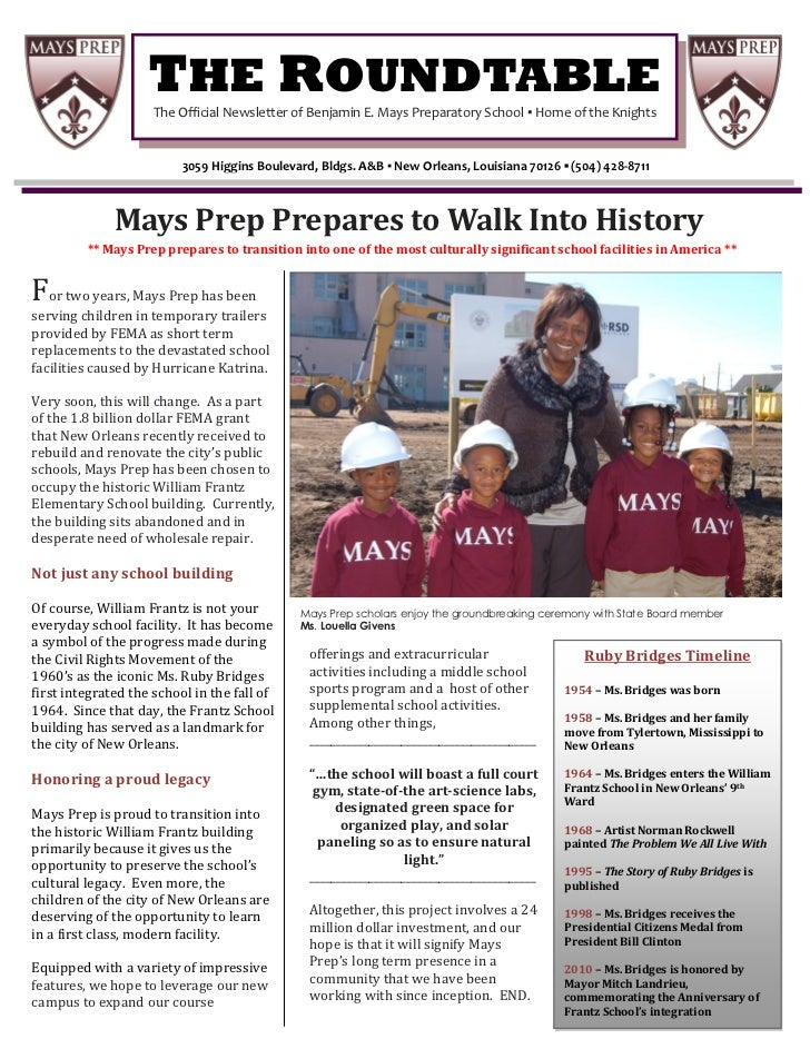 THE ROUNDTABLE                        I                    The Official Newsletter of Benjamin E. Mays Preparatory School ...